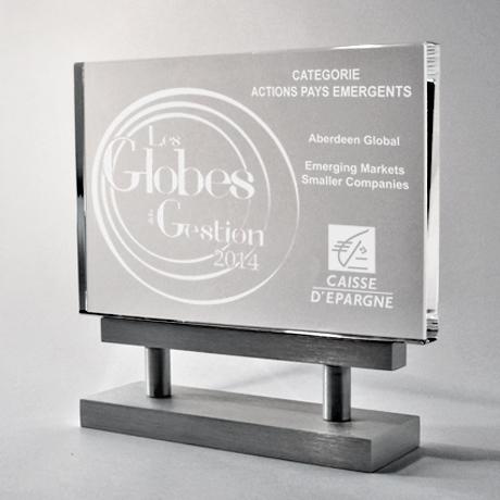 trophée écran métal-métallique-gravure-verre-laser